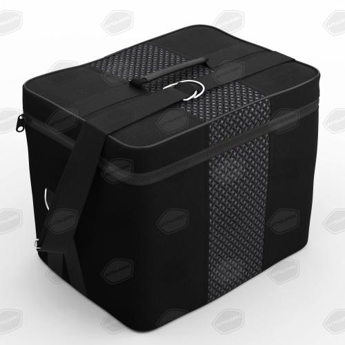 Автомобильная сумка из жаккарда в багажник. Цвет чёрный с серым