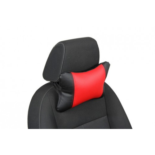 Автоподушка под шею цвет чёрный с красным