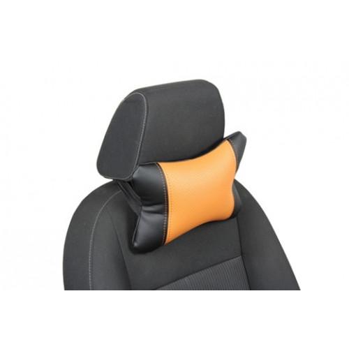 Автоподушка под шею цвет чёрный с оранжевым