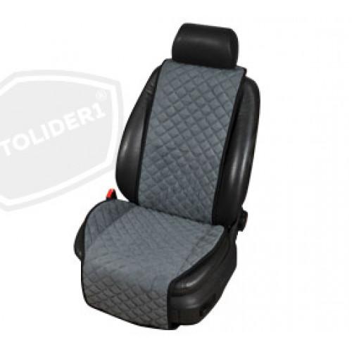 Накидка на сиденья автомобиля из алькантары серого цвета
