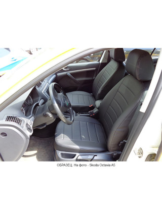 Модельные авточехлы для Audi Q-7 из экокожи Premium, черный