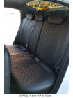 Модельные авточехлы для Audi Q-7 из экокожи Premium 3D ромб, черный