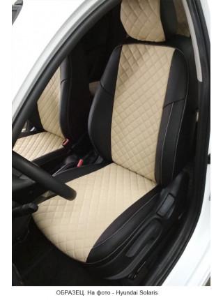 Модельные авточехлы для Audi Q-7 из экокожи Premium 3D ромб, черный+бежевый
