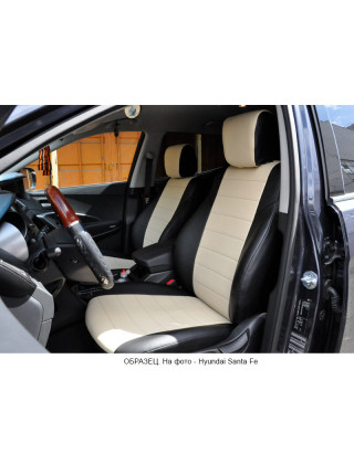 Модельные авточехлы для Audi Q-7 из экокожи Premium, черный+бежевый