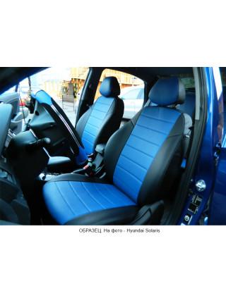 Модельные авточехлы для Audi A6 C6 (2004-2010) из экокожи Premium, черный+синий