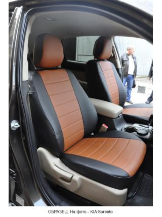 Модельные авточехлы для Audi A6 С6 (2004-2010) из экокожи Premium, черный+коричневый