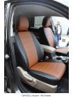 Модельные авточехлы для Audi Q-7 из экокожи Premium, черный+коричневый