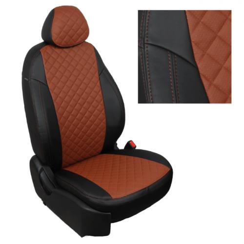 Модельные авточехлы для Audi Q-7 из экокожи Premium 3D ромб, черный+коричневый