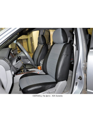 Модельные авточехлы для Audi Q-7 из экокожи Premium, черный+серый