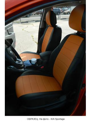 Модельные авточехлы для Audi Q-7 из экокожи Premium, черный+оранжевый