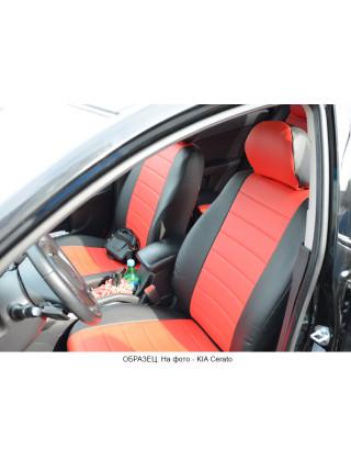 Модельные авточехлы для Audi A6 C6 (2004-2010) из экокожи Premium, черный+красный
