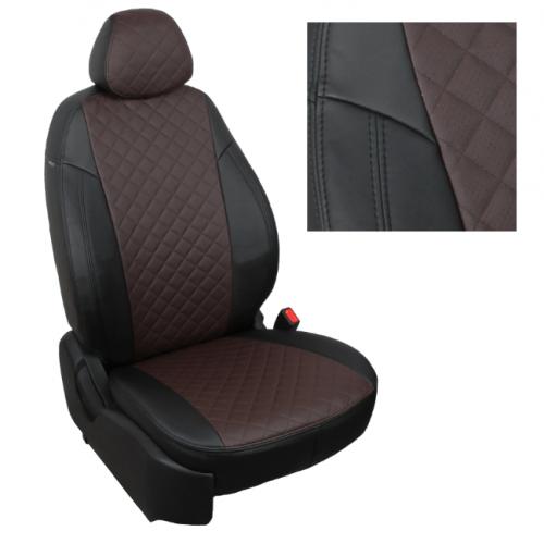 Модельные авточехлы для Audi Q-7 из экокожи Premium 3D ромб, черный+шоколад