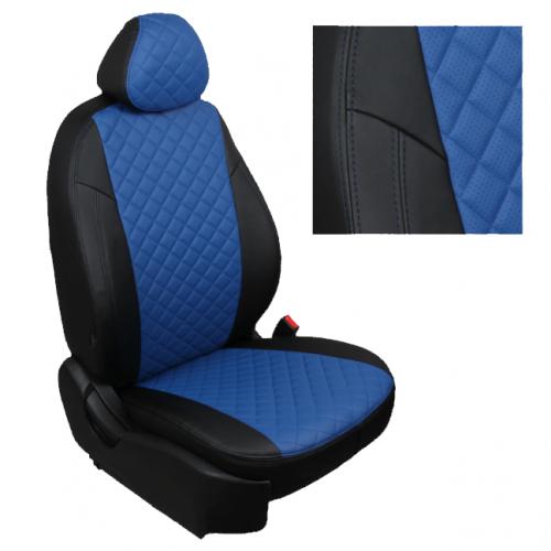 Модельные авточехлы для Audi Q-7 из экокожи Premium 3D ромб, черный+синий