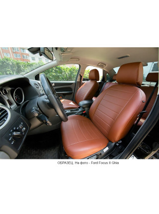 Модельные авточехлы для Audi A6 C7 (2011-2018) из экокожи Premium, коричневый