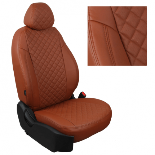 Модельные авточехлы для Audi Q-7 из экокожи Premium 3D ромб, коричневый