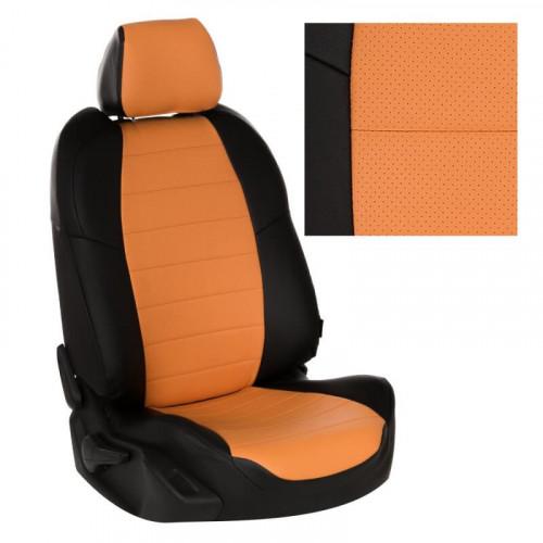 Модельные авточехлы для Audi A6 C7 (2011-2018)) из экокожи Premium, черный+оранжевый