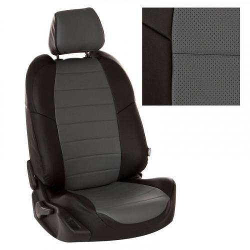 Модельные авточехлы для Audi 100 из экокожи Premium, черный+серый
