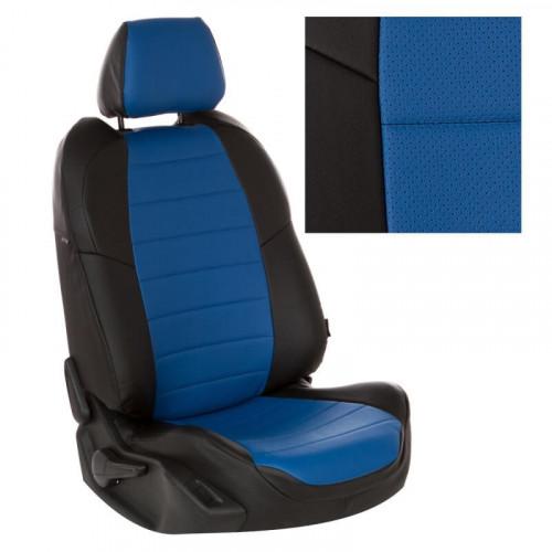 Модельные авточехлы для Audi 100 из экокожи Premium, черный+синий