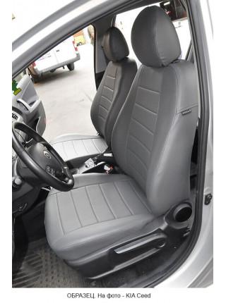 Модельные авточехлы для Audi Q-7 из экокожи Premium, серый