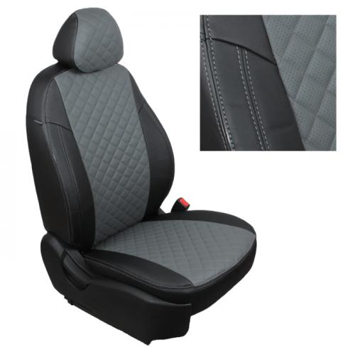 Модельные авточехлы для Audi Q-7 из экокожи Premium 3D ромб, черный+серый