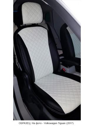 Модельные авточехлы для Audi Q-7 из экокожи Premium 3D ромб, черный+белый
