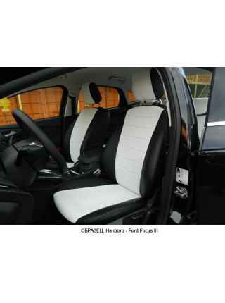 Модельные авточехлы для Audi A6 C7 (2011-2018) из экокожи Premium, черный+белый